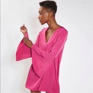 TOPSHOP Pink Dress With Bell Sleeves